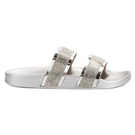 Seastar Pantofole d'argento con cristalli grigio