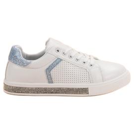 Ideal Shoes bianco Scarpe sportive con zirconi