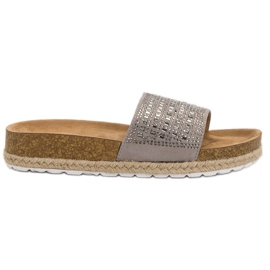 Seastar Pantofole grigie con zirconi grigio