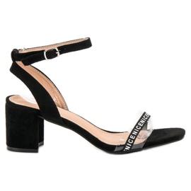 Ideal Shoes nero Eleganti sandali in pelle scamosciata