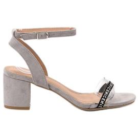 Ideal Shoes grigio Eleganti sandali in pelle scamosciata
