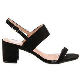 Ideal Shoes nero Sandali da donna alla moda