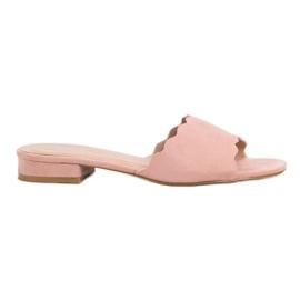 Small Swan rosa Pantofole su tacchi piatti