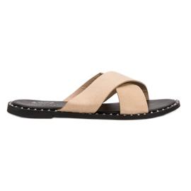 Small Swan marrone Pantofole in pelle scamosciata beige
