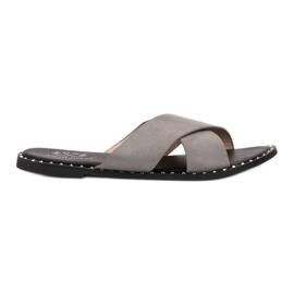 Small Swan grigio Pantofole in pelle scamosciata grigie