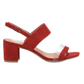 Ideal Shoes rosso Sandali da donna alla moda