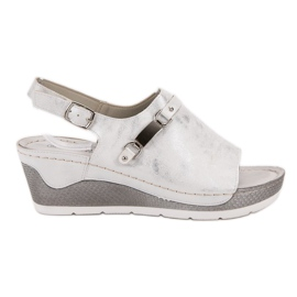 Goodin bianco Comodi sandali con zeppa