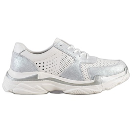 Goodin Sneakers in pelle con broccato bianco