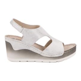 Goodin Comodi sandali con zeppa bianco