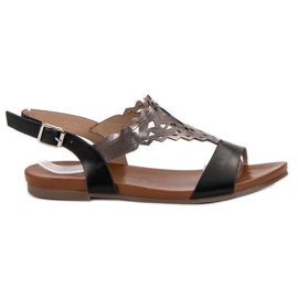 Kylie nero Eleganti sandali piatti