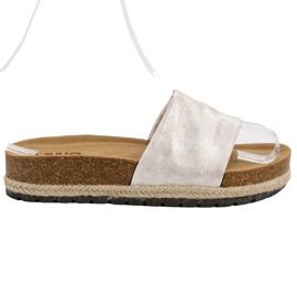 Kylie grigio Pantofole argento lucido