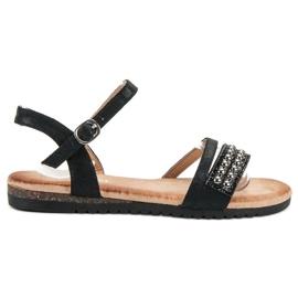 Groto Gogo nero Sandali con broccato