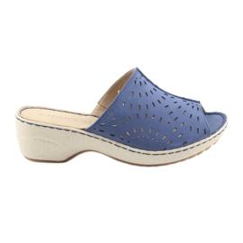 Pantofole da donna koturno Caprice 27351 jeans blu