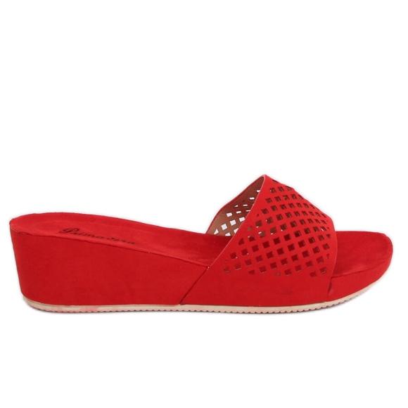 alta qualità scarpe a buon mercato sito web per lo sconto Pantofole rosse traforate JS-03 Rosso