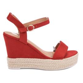 Ideal Shoes rosso Sandali alla moda su Wedge