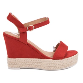 Ideal Shoes rosso Sandali alla moda su Wedge