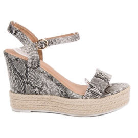 Ideal Shoes grigio Sandali alla moda su Wedge