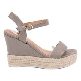 Ideal Shoes grigio Sandali alla moda su Wedge