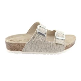 Pantofole da donna beige Inblu NM013 con macchie argentate