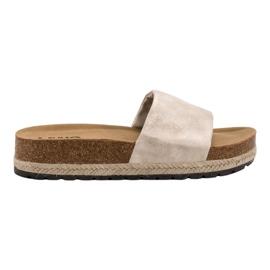 Kylie marrone Pantofole beige lucenti