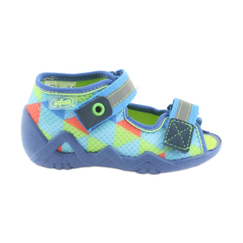 Pantofole blu verde Befado 250P059