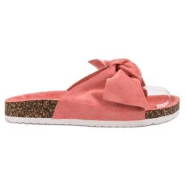 Diamantique rosso Pantofole con fiocco