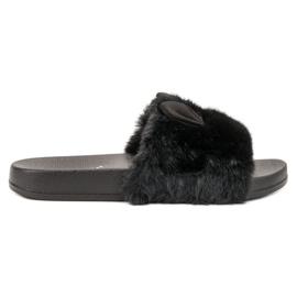 Vinceza nero Pantofole nere con pelliccia