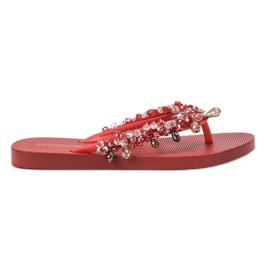 SHELOVET Infradito in gomma con ornamenti rosso