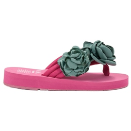 SHELOVET Infradito leggero con fiori rosa