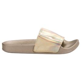 Small Swan Pantofole d'oro alla moda giallo