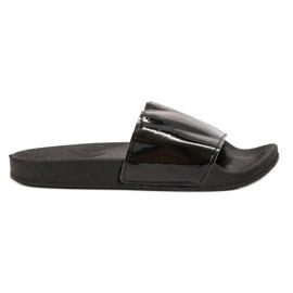 Small Swan nero Pantofole nere alla moda