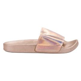Small Swan Pantofole in oro rosa alla moda