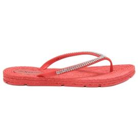Seastar rosso Flip-flop con zirconi