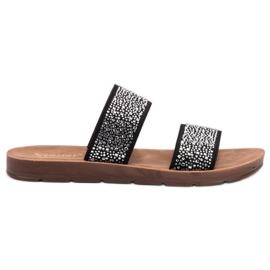 Seastar nero Pantofole con zirconi