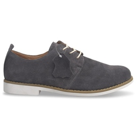 Scarpe stringate in pelle LJ12 grigio