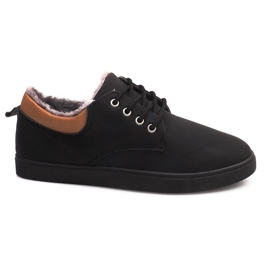 Nero Sneakers coibentate con pelliccia E655-1 nera