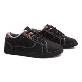 Nero Sneakers coibentate con pelliccia E754M-1 nera