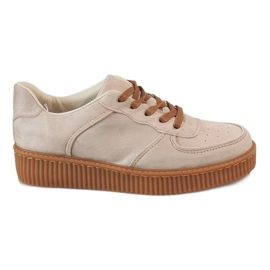 Marrone Creepers lace-up beige 7-K3568B