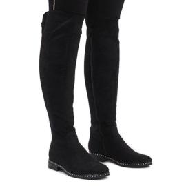 Stivali in camoscio nero con borchie H305