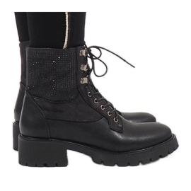 Ideal Shoes nero Stivaletti allacciati neri con paillettes 1621