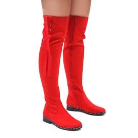 Foreverfolie rosso Stivali caldi in pelle scamosciata rossa H308