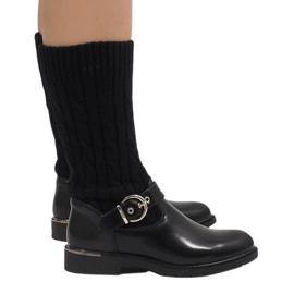 Ideal Shoes nero Stivali caldi neri E-4939