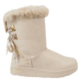 Marrone Stivali da neve beige da donna AN-107