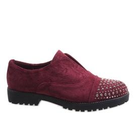Rosso Pantofole di Borgogna con borchie 22-2