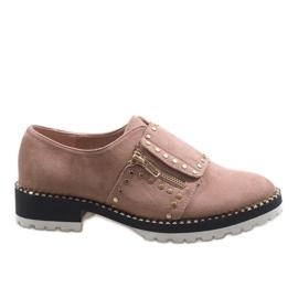 Scarpe stringate rosa con borchie U-6249
