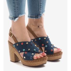 Sandali blu sulla piattaforma 1669