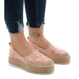 Espadrillas sneakers rosa su plateau 7801-P