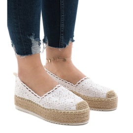 Bianco Espadrillas sneakers bianche su plateau 7801-P
