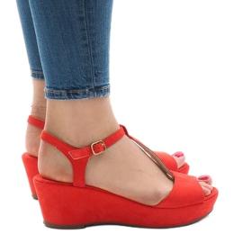 Sandali con zeppa rossi 6-309 rosso