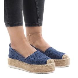 Espadrillas blu sneakers sulla piattaforma 7801-P